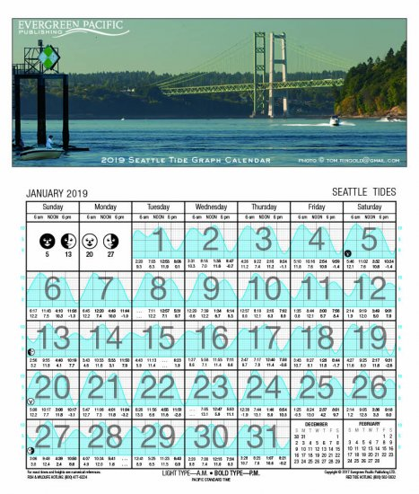 2019 Tide Calendar 2019 Seattle Tide Graph Calendar Seattle Tide Graph Calendar [ISBN