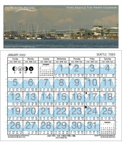 2020 Seattle Tide Graph Calendar