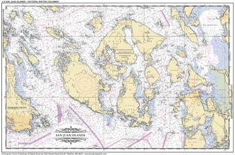 Placemat of San Juan Islands and Victoria, BC